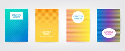 Design minimale delle copertine. Sfumature di mezzitoni colorate. Futuri motivi geometrici. Eps10 vettoriale.