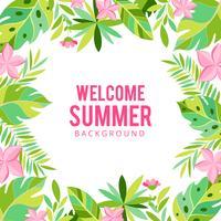 Priorità bassa di estate di fiori e palme tropicali. Invito, volantino o carta floreale esotico