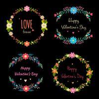 Raccolta di cornici floreali di San Valentino vettore