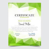 Modello di certificato con disegno geometrico elegante verde, Diploma di design diploma, premio, successo.