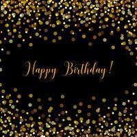 Scheda nera di buon compleanno con coriandoli oro
