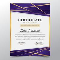 Modello di certificato con lusso elegante design dorato e viola, Diploma design laurea, premio, successo. Illustrazione di vettore.