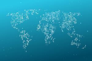 Mappa del mondo tratteggiata. Computer grafica astratta Mappa del mondo di punti rotondi blu. Illustrazione vettoriale