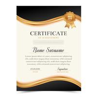 Modello di certificato nero e oro con design di lusso e moderno, modello di diploma