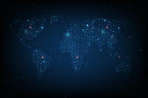 Mappa della rete di comunicazioni del mondo vettore