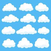 Nuvole del fumetto isolate sulla raccolta di panorama del cielo blu. Cloudscape in cielo blu, illustrazione bianca della nuvola