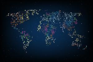 Mappa del mondo tratteggiata. Computer grafica astratta Mappa del mondo di punti colorati rotondi. Illustrazione vettoriale