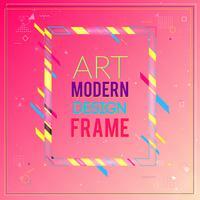 Blocco per grafici di vettore per la grafica di arte moderna del testo. Cornice dinamica con eleganti forme geometriche astratte colorate intorno ad esso su uno sfondo sfumato rosa. Linee di colore al neon alla moda in uno stile di design moderno.