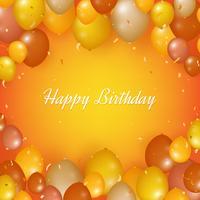 Realistico sfondo di buon compleanno con palloncini e coriandoli