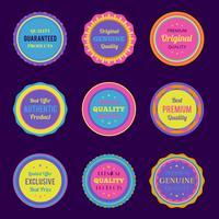 Set di etichette e distintivi colorati