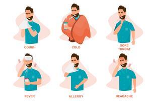 Set di malati che si sentono male, tossiscono, hanno freddo, mal di gola, febbre, allergia e mal di testa vettore