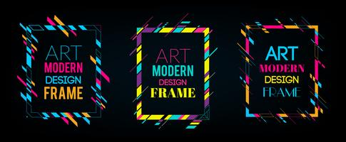 Blocco per grafici di vettore per la grafica di arte moderna del testo. Cornice dinamica con eleganti forme geometriche astratte colorate intorno ad esso su uno sfondo nero. Linee di colore al neon alla moda in uno stile di design moderno.