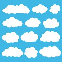 Colore bianco stabilito dell'icona di vettore della nuvola su fondo blu.