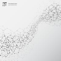 Elementi astratti della struttura di collegamento di tecnologia su fondo bianco. vettore