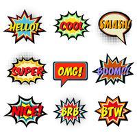 Parole di fumetti. Set di fumetto comico vettore
