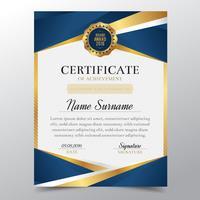 Modello di certificato con lusso dorato e blu elegante design, Diploma design laurea, premio, successo. Illustrazione di vettore.