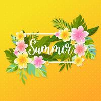 Cornice estiva di fiori e palme tropicali, sfondo grafico, invito floreale esotico