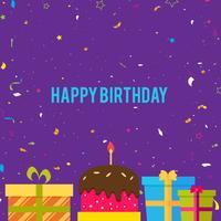 Sfondo di buon compleanno con scatole di confetti, torte e regali