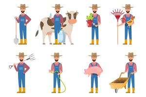 felice cartone animato contadino in molti set di caratteri