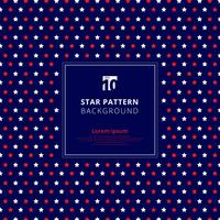 Motivo a stelle rosso e bianco astratto su fondo blu, bandiera americana.