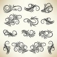 Set ornamenti di turbinio calligrafici d'epoca