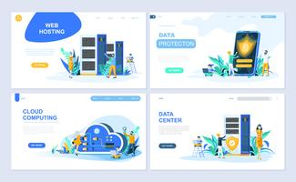 Set di modello di pagina di destinazione per Hosting, Protezione dati, Data Center, Cloud Computing. I concetti piani dell'illustrazione moderna di vettore hanno decorato il carattere della gente per il sito Web e lo sviluppo del sito Web mobile.