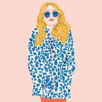 Illustrazione piana di vettore della stampa del leopardo dei capelli lunghi della ragazza di modo