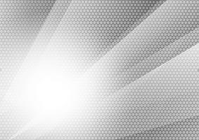 Fondo futuristico moderno di tecnologia astratta geometrica di colore grigio e d'argento, illustrazione di vettore