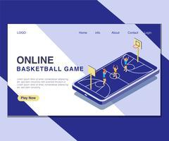 Bambini che giocano concetto isometrico online del materiale illustrativo del gioco con la palla del canestro. vettore