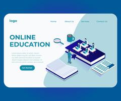 Concetto isometrico del materiale illustrativo online di Teaching Teachers Students dell'insegnante. vettore