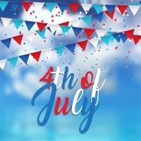 Progettazione del 4 luglio con i coriandoli e gli stendardi sul fondo del cielo blu vettore