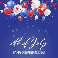 4 luglio sfondo Independence Day con palloncini e coriandoli vettore