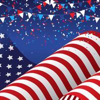 4 luglio sfondo con bandiera americana vettore