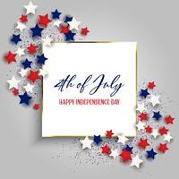 4 luglio sfondo Independence Day con con cornice d'oro e stelle vettore