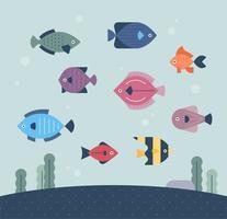 pesce sotto il mare. vettore