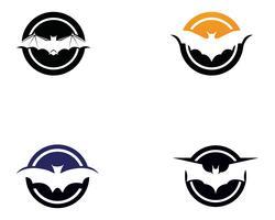 Modello di logo e simboli del pipistrello vettore
