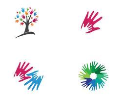 Logo e simboli della comunità di amici del team di mano vettore