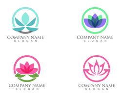 Lotus Flower Sign per Wellness, Spa e Yoga. Illustrazione vettoriale