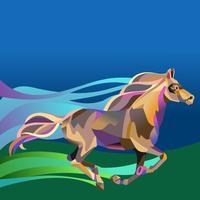 Runing horse in stile geometrico poligonale vettore