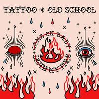 Tatuaggio old school. Occhi, taer e fuoco vettore