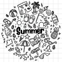 scarabocchi disegnati a mano spiaggia estiva vettoriale simboli e oggetti isolati Icon Set on chalkboard