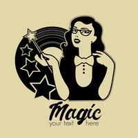 Illustrazione vettoriale di giovane donna con la bacchetta magica. Magic emblema retrò