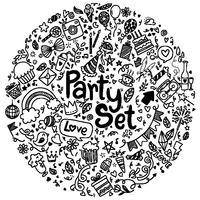 Insieme di doodle di stile di doodle disegnato a mano dell'illustrazione di vettore buon compleanno ementevent insieme