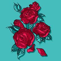 Bouquet di rose rosse bellissime vettore