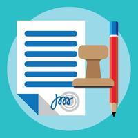 penna di accordo di icona di contratto di carta carta igned sul business piatta scrivania vettore