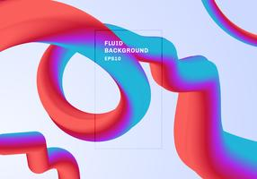 Astratto sfondo moderno alla moda vibrante sfumatura di colore. Flow Shape rosso, rosa e blu a colori 3D con liquido a spirale o liquido contorto. È possibile utilizzare per brochure, flyer, poster, banner web, copertina. vettore