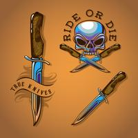 Illustrazione vettoriale Emblema di moto Chrome con teschio e coltello per i colori