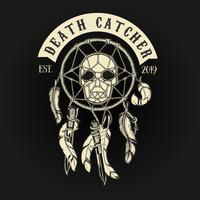 Logo del Death Catcher del teschio del motociclista