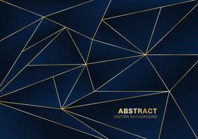 Stile di lusso del modello poligonale astratto su fondo blu con linee dorate