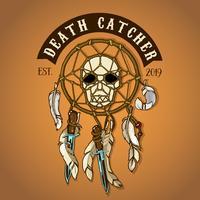 Logo del Catcher della morte del cranio del motociclista colorato